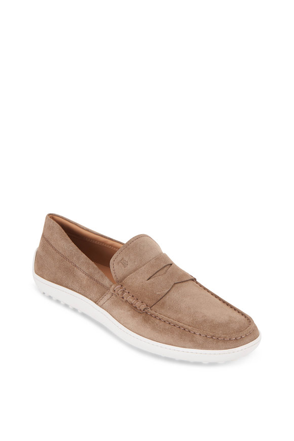 Tod's Mocassino Tan Suede Penny Loafer
