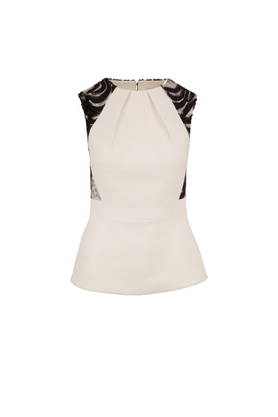 Safiyaa - Ivory Sequin & Lace Back Peplum Top
