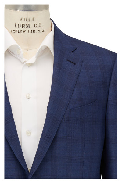Ermenegildo Zegna - Trofeo 600 Navy Blue Plaid Wool & Silk Suit