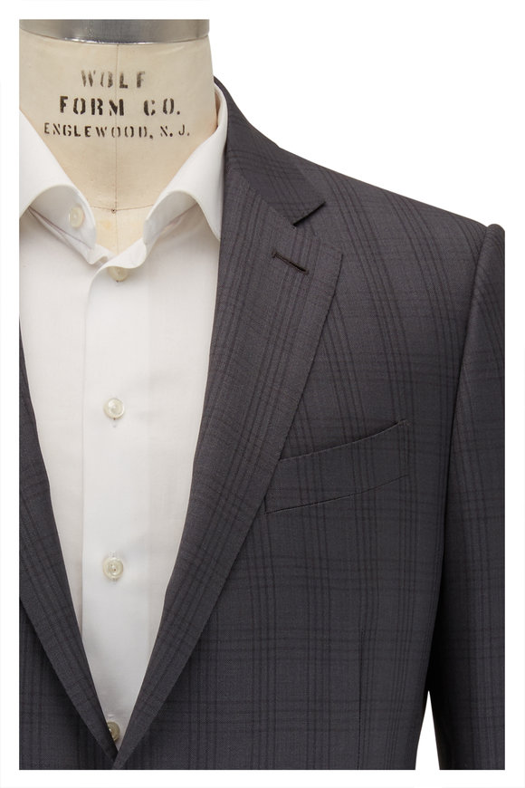 Ermenegildo Zegna Light Gray Tonal Plaid Wool & Silk Suit