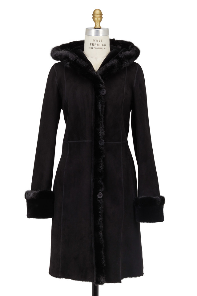 Black Shearling & Mink Fur Coat