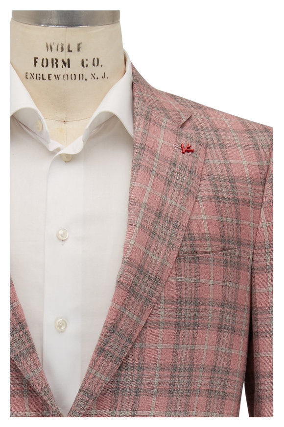 Isaia Pink Plaid Cashmere & Silk Sportcoat