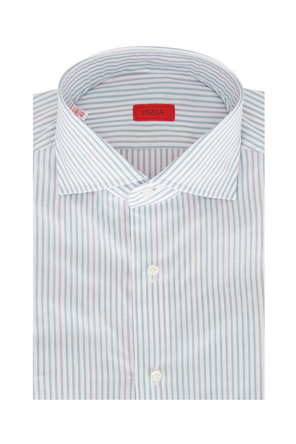 Isaia Teal & Gray Stripe Sport Shirt