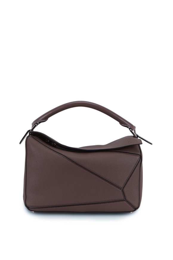 Loewe Puzzle Taupe Leather Top Handle Bag