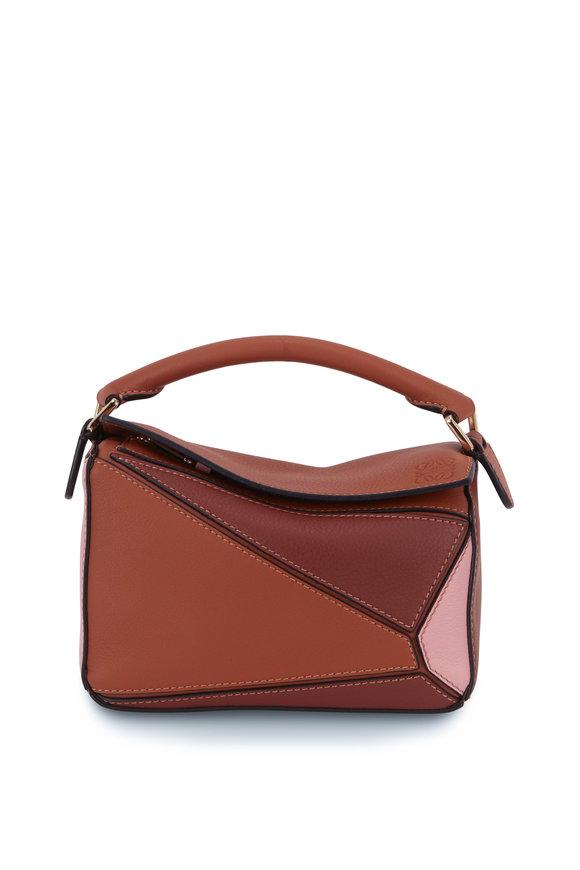Loewe Mini Puzzle Tan & Medium Pink Crossbody Bag
