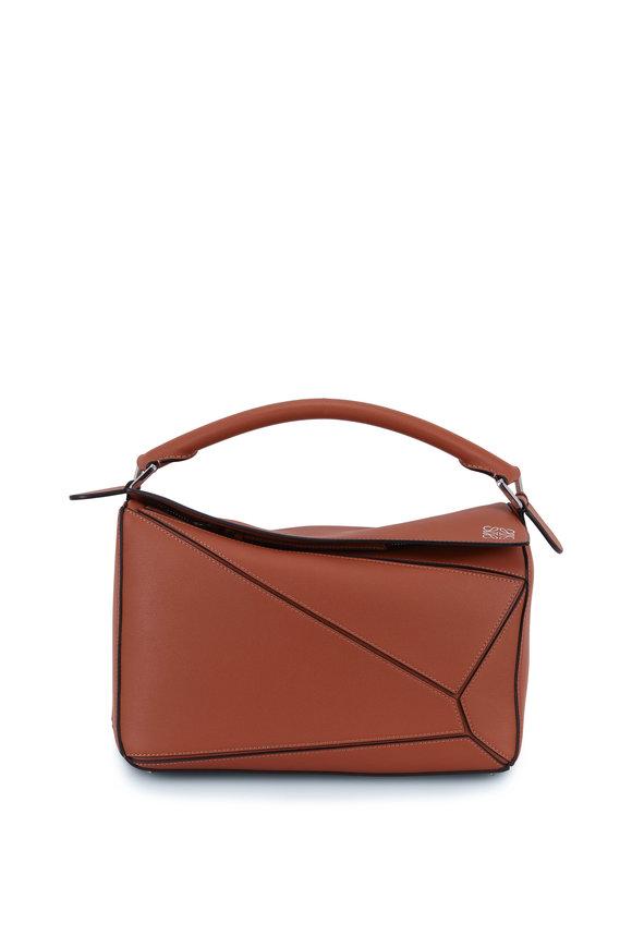 Loewe Puzzle Tan Leather Top Handle Bag