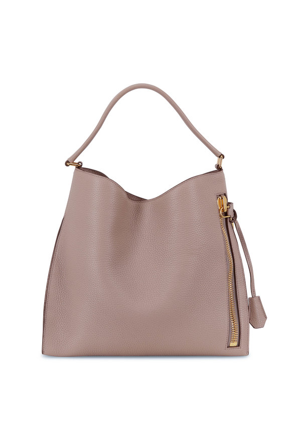 Tom Ford Alix Taupe Grained Leather Small Hobo Bag