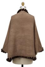 Viktoria Stass - Taupe Cashmere Knit & Mink Fur Infinity Cape