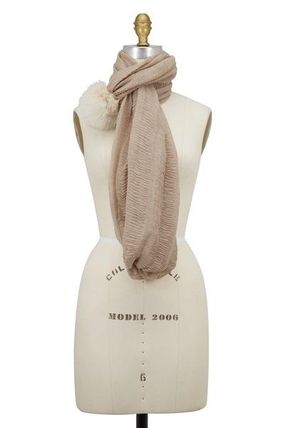 Viktoria Stass - Oatmeal Crinkle Cotton & Fur Pom Pom Muffler