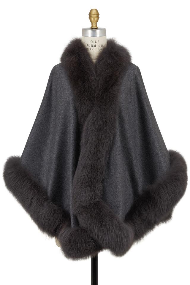 Gray Cashmere & Fox Fur Cape