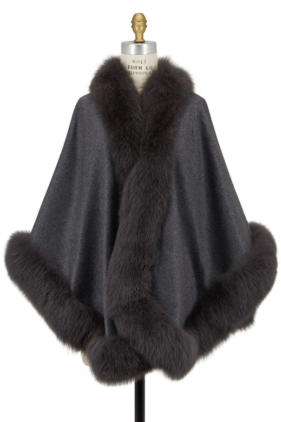 Viktoria Stass - Gray Cashmere & Fox Fur Cape