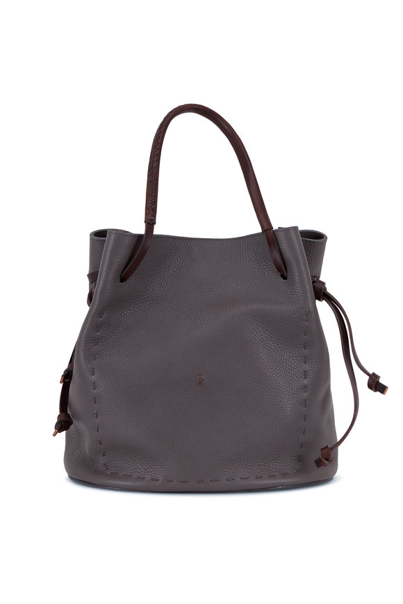 Henry Beguelin Samoa Anthracite & Ebano Leather Small Bucket Bag