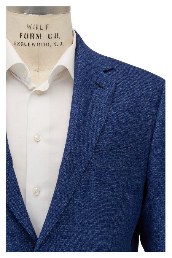 Maurizio Baldassari Medium Blue Tic Wool & Linen Sportcoat