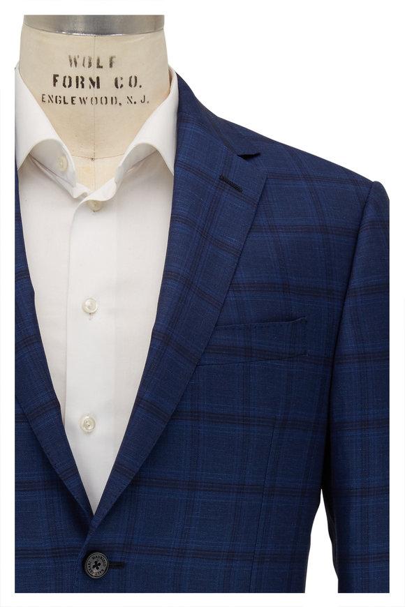 Maurizio Baldassari Blue & Navy Tonal Plaid Wool & Flax Sportcoat