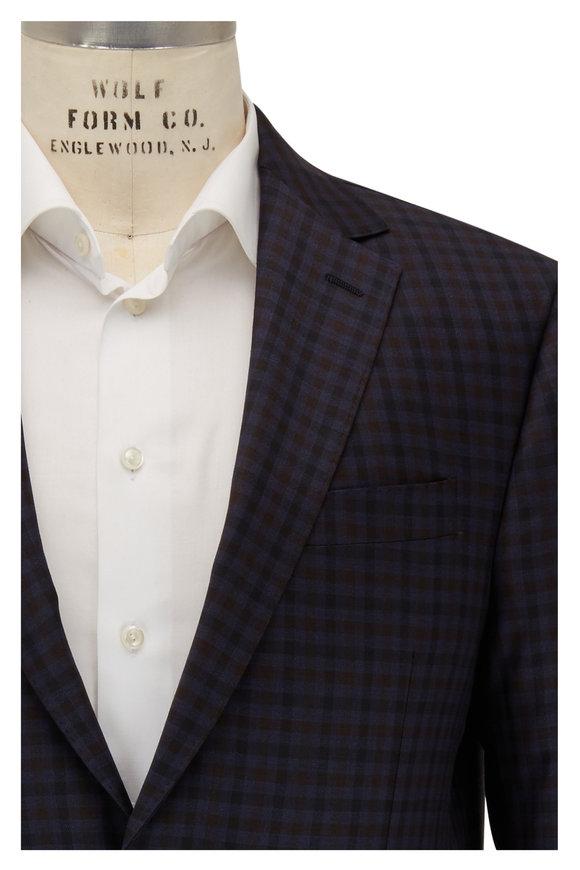 Maurizio Baldassari Navy & Brown Check Wool Sportcoat