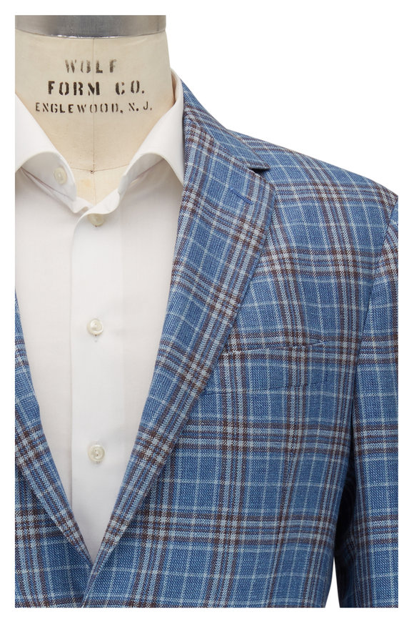 Maurizio Baldassari Blue & Orange Plaid Sportcoat