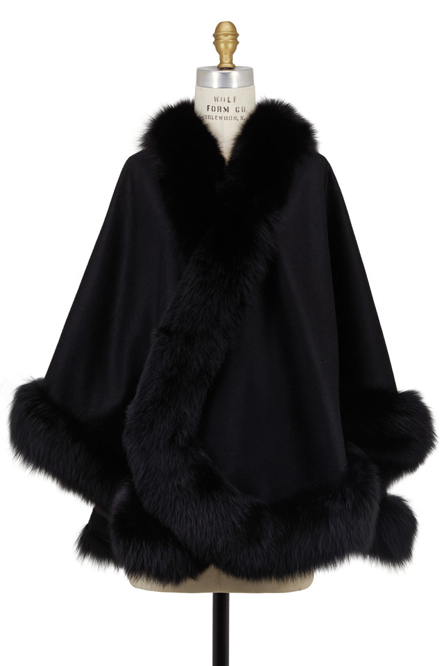 Black Cashmere & Fox Fur Cape
