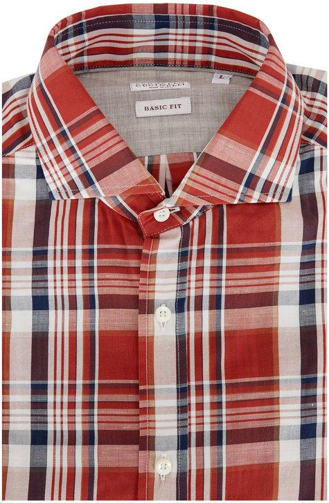 Brunello Cucinelli Rust Plaid Basic Fit Sport Shirt