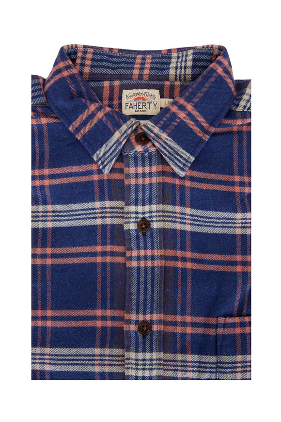 Faherty Brand Cardiff Plaid Stretch Seaview Flannel Sport Shirt