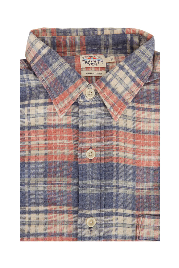 Faherty Brand Autumn Plaid Stretch Seaview Flannel Sport Shirt