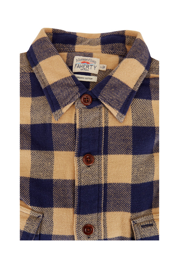Faherty Brand Navy & Gold Vintage Twill Flannel Sport Shirt