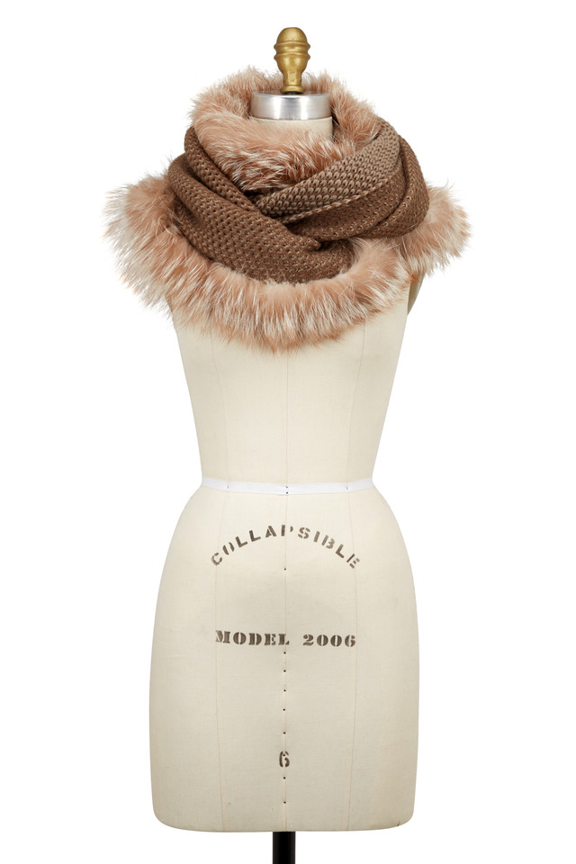 Beige Knit Wool & Fox Fur Long Infinity Scarf