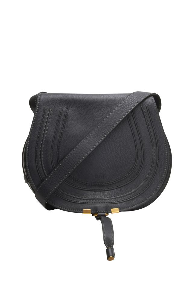 Marcie Black Leather Small Flap Handbag