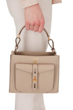 Tom Ford - T-Twist Silk Taupe Mini Top Handle Bag