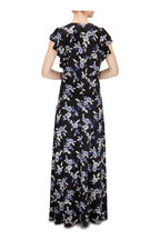Veronica Beard - Padma Black Multi Floral Flutter Sleeve Maxi Dress