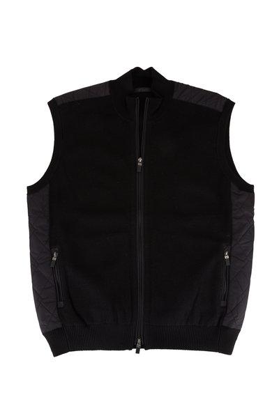 Raffi - Black Nylon Quilted Back Vest