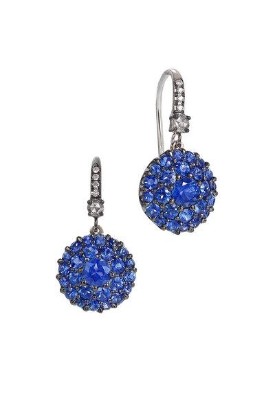 Nam Cho - 18K White Gold Blue Sapphire Spike Earrings