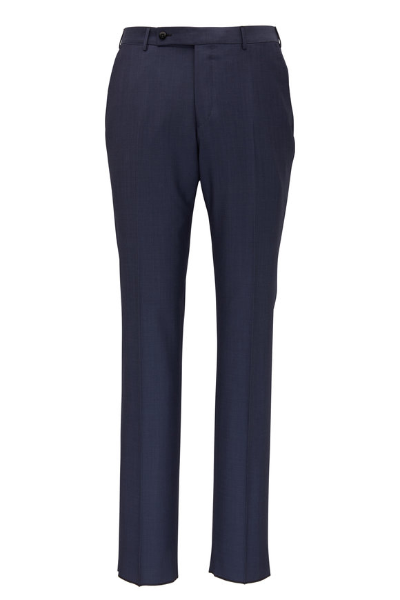Ermenegildo Zegna Transeasonal Navy Blue Wool Dress Pant