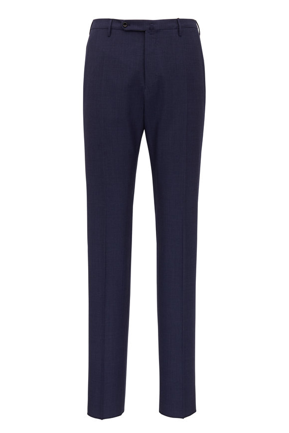 Incotex Navy Blue Wool  Modern Fit Pant