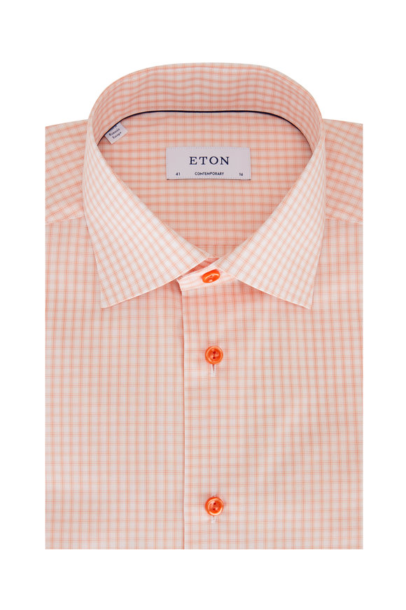 Eton Light Orange Plaid Contemporary Fit Sport Shirt