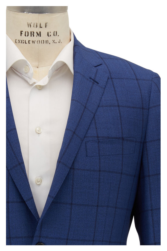 Atelier Munro Navy Blue Windowpane Wool Suit