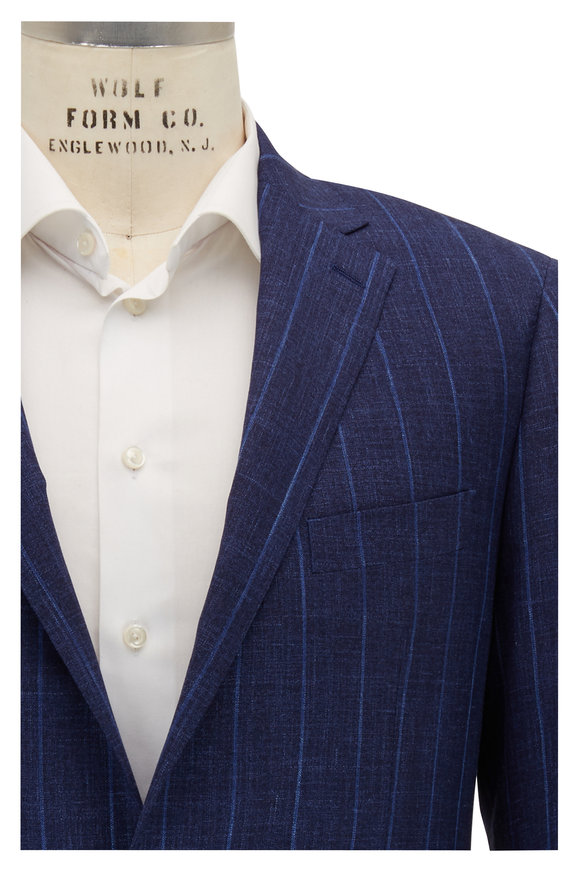 Atelier Munro Navy Blue Wool Blend Striped Suit