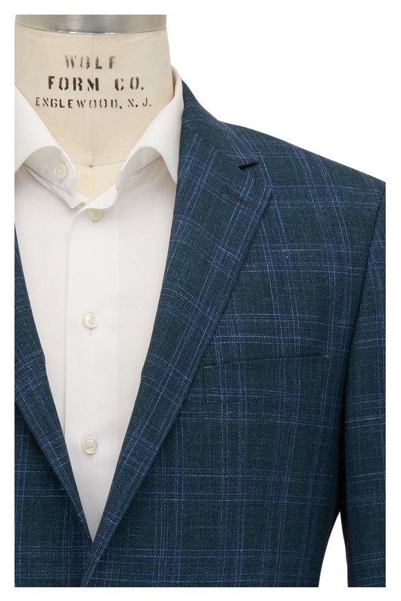 Atelier Munro Teal Plaid Wool, Silk & Linen Sportcoat