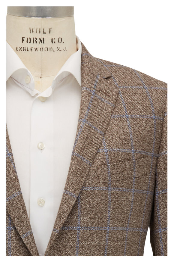 Atelier Munro Tan & Blue Windowpane Sportcoat