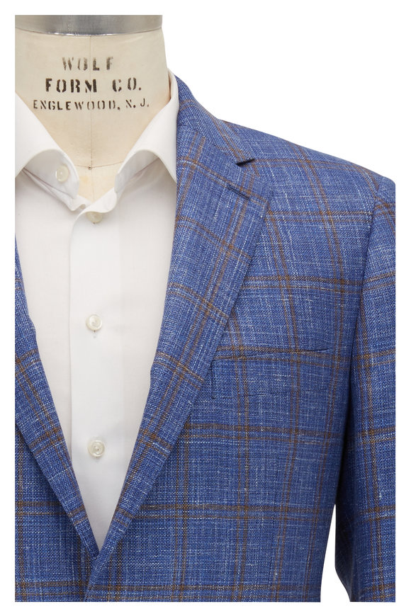Atelier Munro Blue & Tan Windowpane Sportcoat