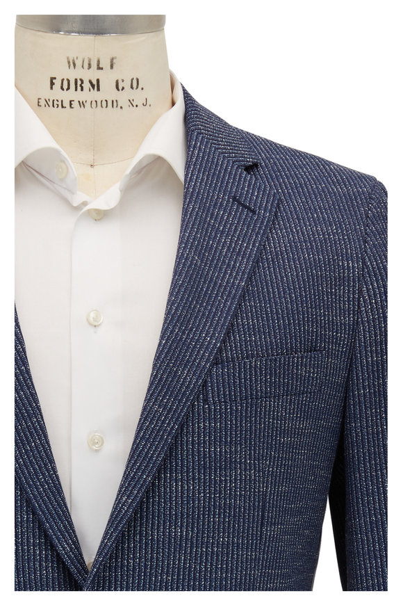 Atelier Munro Navy Stretch Cotton Knit Sportcoat
