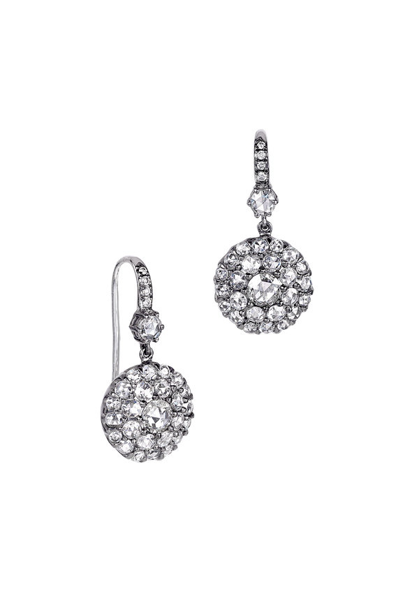 Nam Cho 18K White Gold Rose Cut Diamond Wire Earrings
