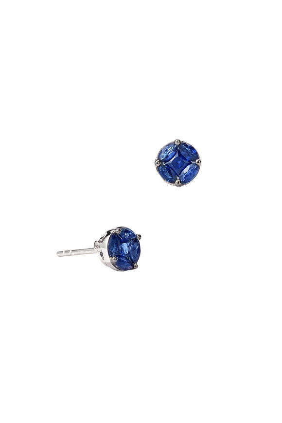 Nam Cho 18K White Gold Invisible Blue Sapphire Earrings