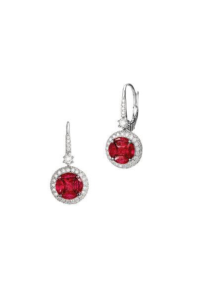 Nam Cho - 18K White Gold Burmese Ruby Flower Earrings