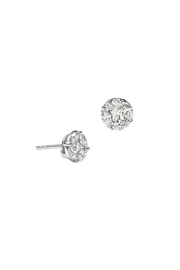 Nam Cho 18K White Gold Invisible Round Diamond Studs