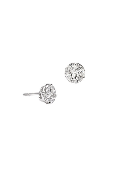 Nam Cho - 18K White Gold Invisible Round Diamond Studs