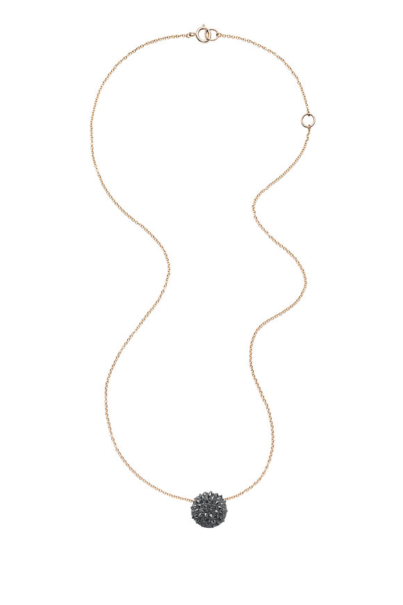 Nam Cho 18K Gold Black Diamond Half Ball Pendant Necklace