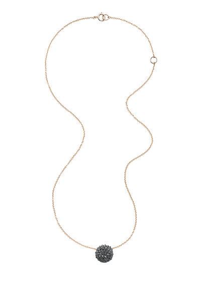 Nam Cho - 18K Gold Black Diamond Half Ball Pendant Necklace