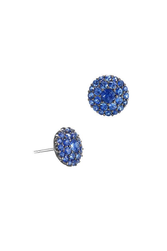 Nam Cho 18K White Gold Blue Sapphire Post Earrings
