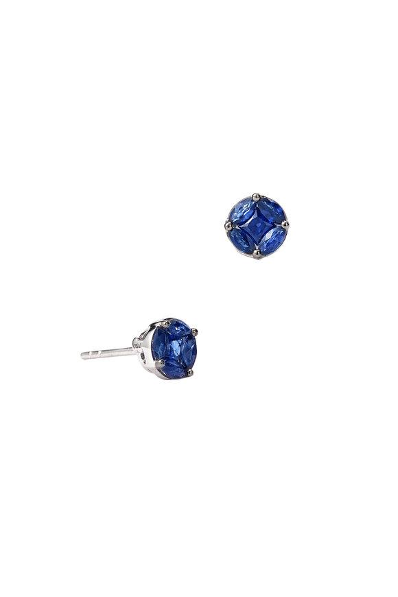 Nam Cho 18K White Gold Invisible Blue Sapphire Studs