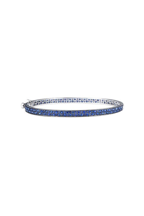 Nam Cho 18K White Gold Pavé Blue Sapphire Bangle